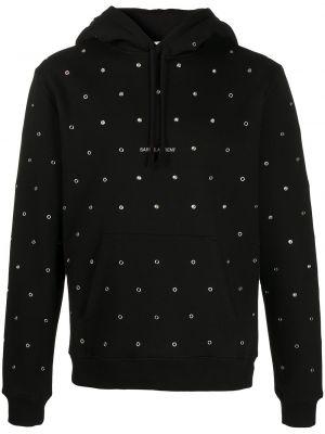 Czarna bluza długa z długimi rękawami bawełniana Saint Laurent