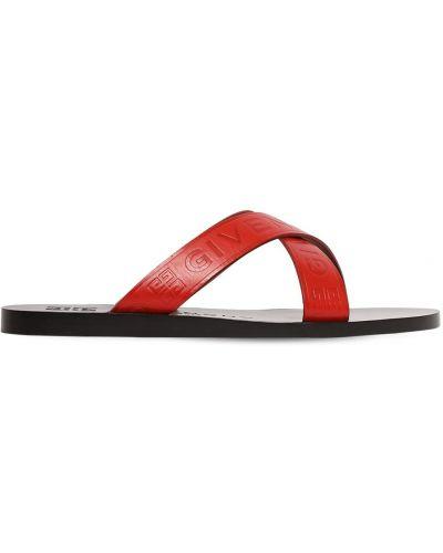 Z paskiem sandały z prawdziwej skóry na pięcie wytłoczony Givenchy