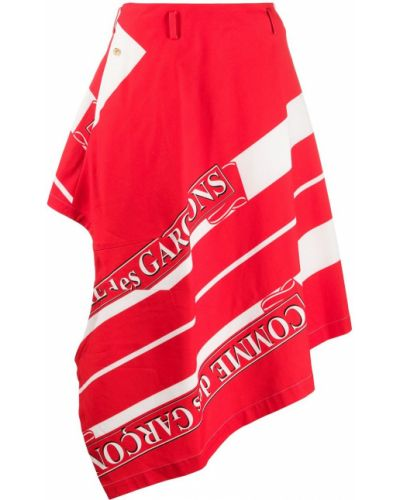Хлопковая асимметричная красная юбка Comme Des Garçons Homme Plus