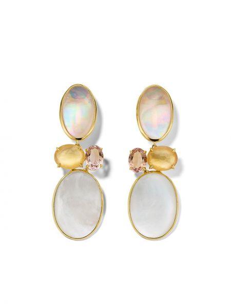 Розовые золотые серьги с жемчугом Ippolita