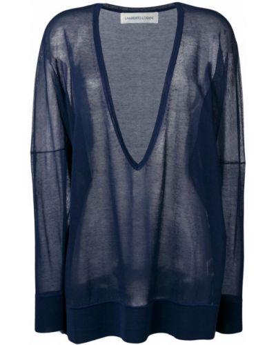 Синий свитер оверсайз со спущенными плечами с декольте Lamberto Losani