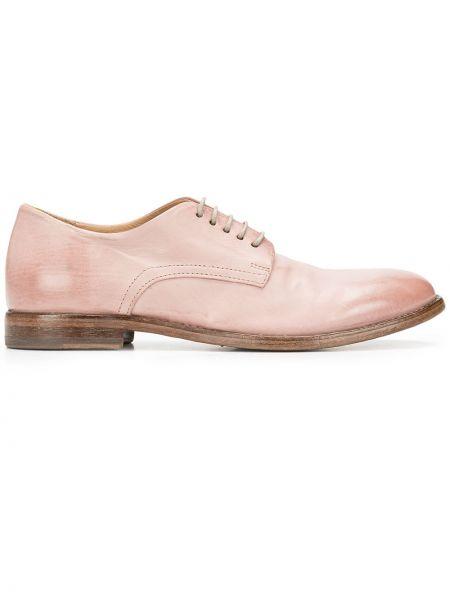 Розовые кожаные оксфорды на шнуровке Moma