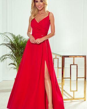 Czerwona sukienka długa elegancka materiałowa Numoco