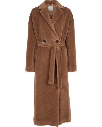 Beżowy płaszcz wełniany S Max Mara