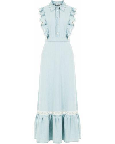 Ажурное синее приталенное летнее платье с оборками Miu Miu