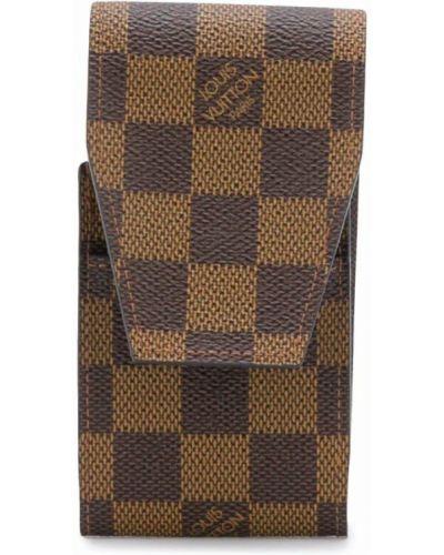 Коричневый кожаный футляр для очков винтажный Louis Vuitton