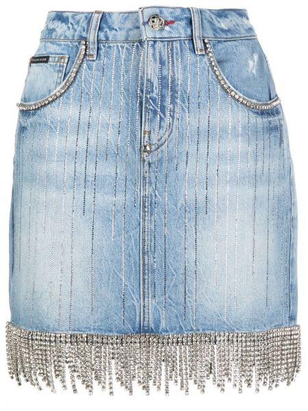 Синяя с завышенной талией кожаная юбка мини Philipp Plein