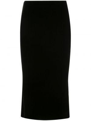 Шелковая юбка миди - черная Marchesa
