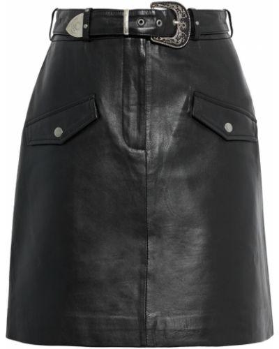 Черная кожаная юбка мини на крючках Muubaa