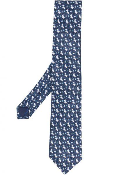 Jedwab niebieski klasyczny krawat Salvatore Ferragamo