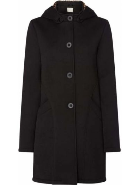 Czarny płaszcz z kapturem z wiskozy Amber & June