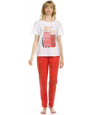 С рукавами мягкая домашняя пижамная пижама с брюками Pelican