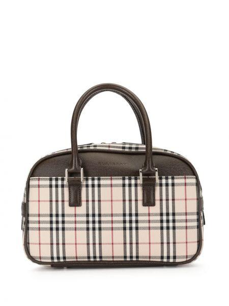Парусиновая сумка-тоут на молнии с карманами Burberry Pre-owned
