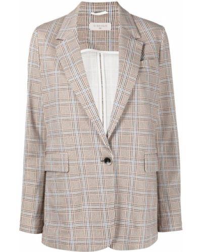Однобортный коричневый удлиненный пиджак в клетку Circolo 1901