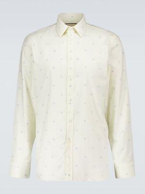 Beżowy bawełna koszula oxford z haftem Gucci