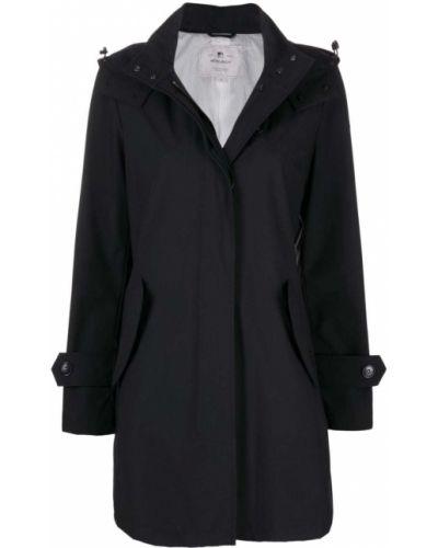 Черное длинное пальто с капюшоном на пуговицах Woolrich