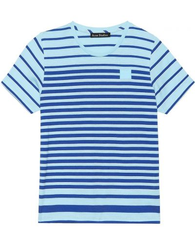 Синяя рубашка с нашивками Acne Studios Kids