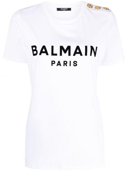 Хлопковая с рукавами белая футболка Balmain