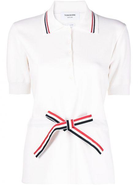 Biała koszula krótki rękaw z paskiem wełniana Thom Browne
