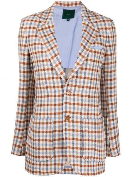 Удлиненный пиджак в клетку на пуговицах с длинными рукавами Jejia