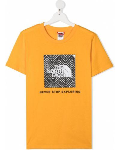 Желтая прямая хлопковая рубашка с короткими рукавами The North Face Kids