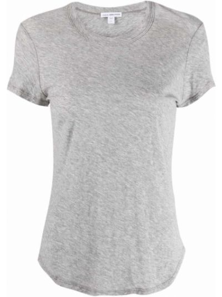 Хлопковая футболка с короткими рукавами с вырезом James Perse