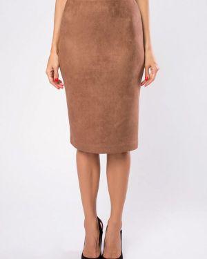 Кожаная юбка осенняя коричневый Kotis Couture