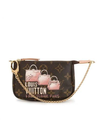 Коричневый кожаный клатч на молнии Louis Vuitton