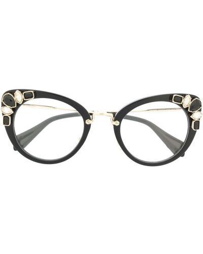 Золотистые очки кошачий глаз хаки Miu Miu Eyewear