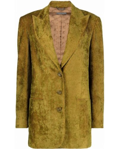 Бархатный пиджак - зеленый Alberta Ferretti