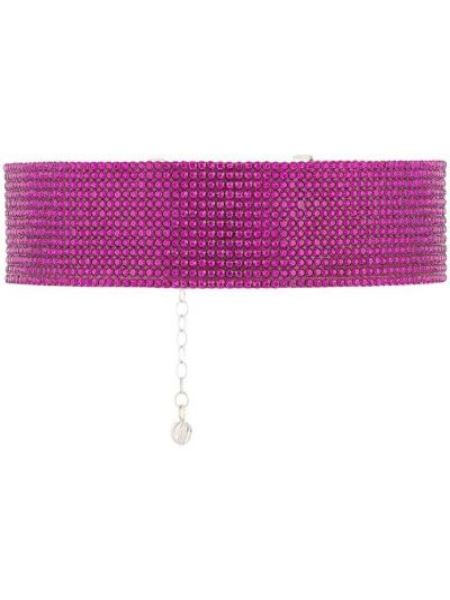 Розовый шелковый чокер со стразами Nué