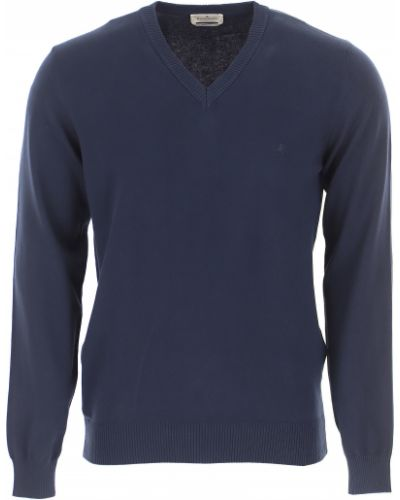 Prążkowany niebieski długi sweter bawełniany Brooksfield