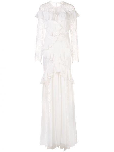 Шелковое белое платье макси прозрачное Zuhair Murad