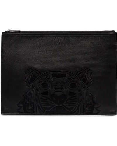 Czarna kopertówka skórzana z haftem Kenzo