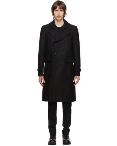 Шерстяное черное длинное пальто с воротником Belstaff