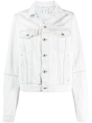 Белая джинсовая куртка с воротником на пуговицах Off-white