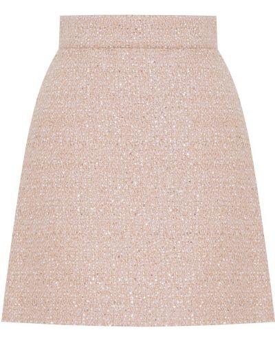 Бежевая юбка мини с пайетками букле трапеция Miu Miu