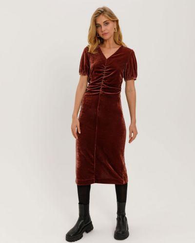 Коричневое бархатное с рукавами платье миди Sela