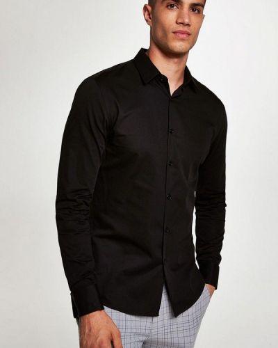Черная рубашка с длинным рукавом Topman