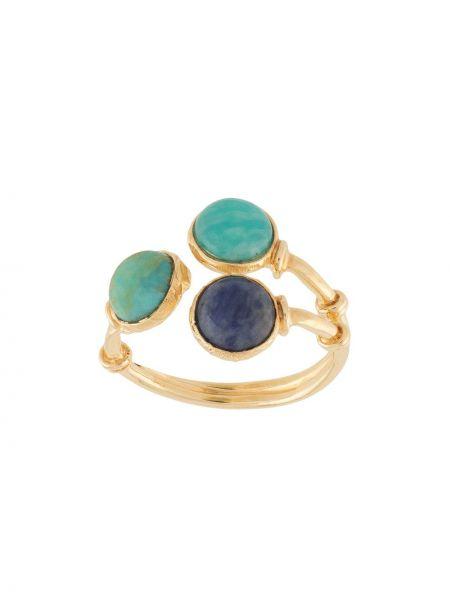 Золотистое кольцо золотое с камнями Gas Bijoux
