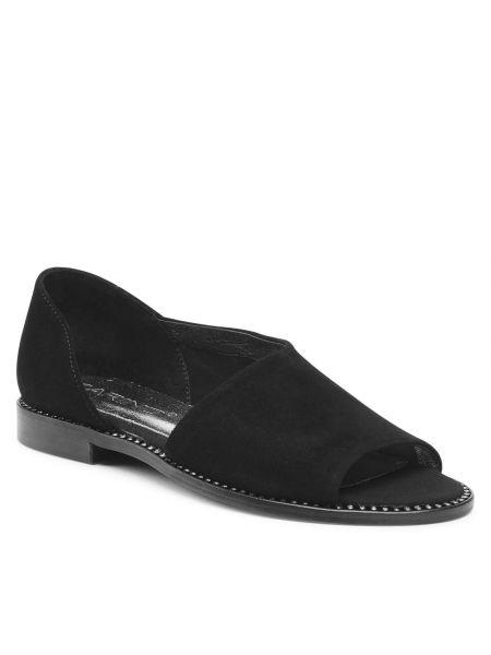 Czarne sandały zamszowe Karino