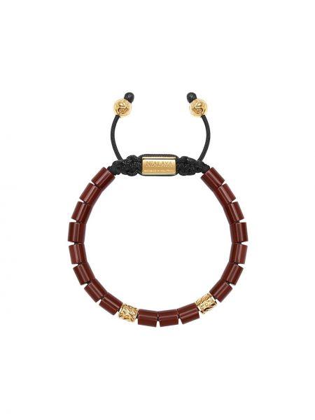 Złota bransoletka z koralikami - szara Nialaya Jewelry