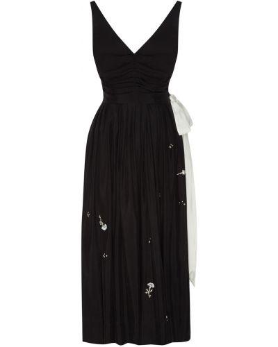Черное платье миди с пайетками с декольте Maison Bohemique