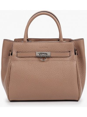 Бежевая кожаная сумка Basconi