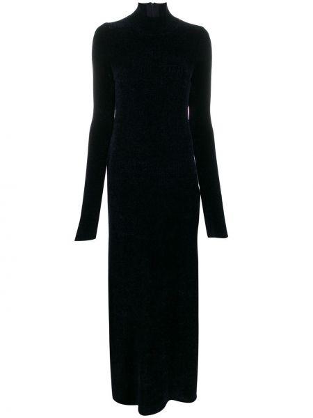 Синее вязаное приталенное платье макси с длинными рукавами Jil Sander