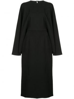 Расклешенное черное платье миди с вырезом Sara Battaglia