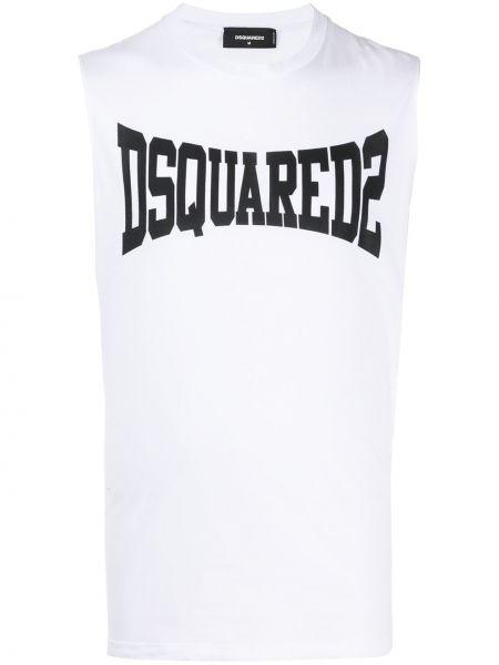 Biała sport kamizelka bez rękawów bawełniana Dsquared2