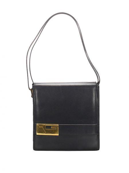 Черная сумка на плечо металлическая на молнии с карманами Gucci Pre-owned