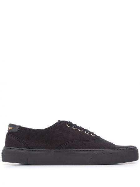 Bawełna koronkowa czarny sneakersy okrągły Saint Laurent