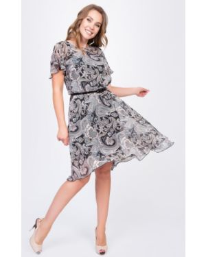 С рукавами расклешенное шифоновое летнее платье с вырезом Diolche